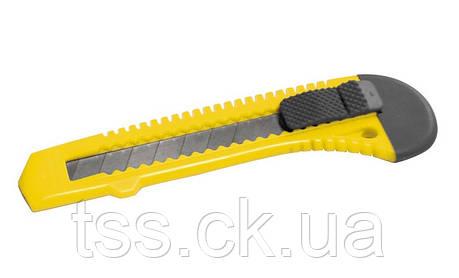 Нож 18 мм пластиковый кнопочный фиксатор MASTERTOOL 17-0518, фото 2