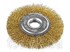 Щітка дискова з латунированной рифленого дроту D180*22,2 мм MASTERTOOL 19-9118