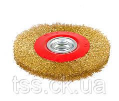 Щітка дискова з латунированной рифленого дроту D200*32 мм MASTERTOOL 19-9220