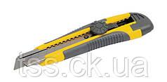 Нож 18 мм ABS пластик TPR покрытие с металлической направляющей винтовой замок 3 лезвия MASTERTOOL 17-0118