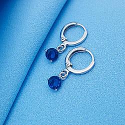 Сережки родовані, Класика з синім камінчиком, Xuping