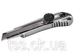 Нож 18 мм металлический с направляющей винтовой замок MASTERTOOL 17-0198