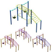 """Гімнастичний комплекс для дітей """"Рукоходик 2"""" з гойдалками DIO602.1 для дитячого майданчика"""