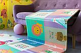 """Дитячий термо килимок складний ігровий двосторонній """"Повітряна куля - Тварини"""" 200х180 см +чохол, фото 2"""