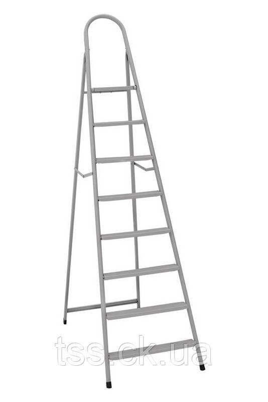 """Драбина металева """"ІТАЛІЯ"""" 8 сходинок з розтяжками, h=1760 мм, max 150 кг ГОСПОДАР 79-1048"""