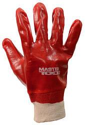 """Перчатки кислотостойкие MASTERTOOL хлопчатобумажный трикотаж полное ПВХ покрытие вязаный манжет 10.5"""" 123-127"""