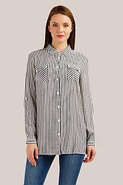 Летняя блузка-рубашка из вискозы с длинным рукавом Finn Flare S19-140116-101 в полоску темно-синяя