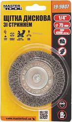 """Щітка дискова з рифленого дроту D75. мм зі стрижнем 1/4"""" MASTERTOOL 19-9807"""