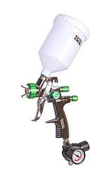 Краскопульт LVLP СБ 600 мл, пластик, Ø 1,3 мм, 125-170 л/хв, 1,5-2,5 бар з манометром MASTERTOOL 80-8810