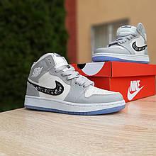 Женские кроссовки Nike Air Jordan 1 Retro High Dior (бело-серые) спортивная обувь для баскетбола