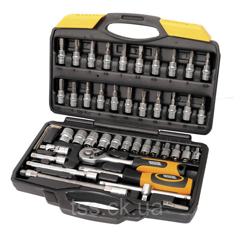 """Набор инструментов 47 элементов 1/4"""" 4-14 мм.,трещотка с храповым механизмом 72 зуба, сталь Cr-V, пластиковый"""
