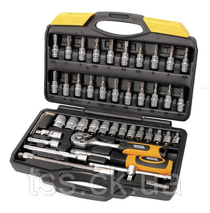 """Набор инструментов 47 элементов 1/4"""" 4-14 мм.,трещотка с храповым механизмом 72 зуба, сталь Cr-V, пластиковый, фото 2"""