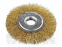 Щітка дискова з латунированной рифленого дроту D150*22,2 мм MASTERTOOL 19-9115