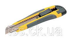 Нож 18 мм ABS пластик TPR покрытие с металлической направляющей кнопочный фиксатор 3 лезвия MASTERTOOL 17-0119