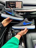 Мужские кроссовки Kith x Nike Air Force 1 Low Black Blue / Найк Аир Форс 1 Лоу Черные Синие