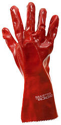 """Перчатки кислотостойкие MASTERTOOL хлопчатобумажный трикотаж полное ПВХ покрытие манжет крага 350 мм 10.5"""""""