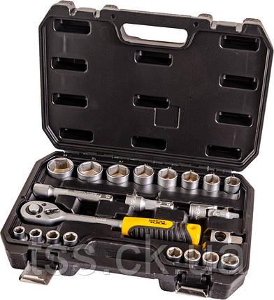 """Набор инструментов 21ед.,1/2"""",сталь CrV, головки 10-32 мм, трещотка с храповым механизмом 72 зуба, пласт.кейс, фото 2"""