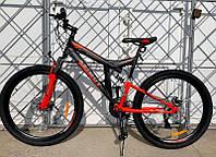 Горный двухподвесный велосипед Azimut Power 24 D дюйма черно-красный