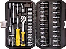 """Набор инструментов 47 ед. 1/4"""" 4-14 мм.,трещотка с храповым механизмом 72 зуба, сталь Cr-V, пластиковый кейс,, фото 3"""