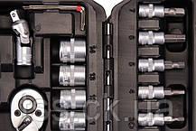 "Набір насадок торцевих CrV 1/4"" 4-14 мм,тріскачка 72Т, 46 шт, кейс MASTERTOOL 78-2047, фото 3"