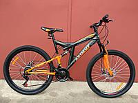 Горный двухподвесный велосипед Azimut Power 24 D дюйма черно-оранжевый