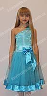 Шикарное бальное детское платье на одно плече украшенное атласным бантом