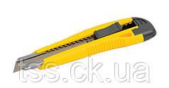 Нож 18 мм ABS пластик с металлической направляющей  кнопочный фиксатор 2 лезвия MASTERTOOL 17-0106