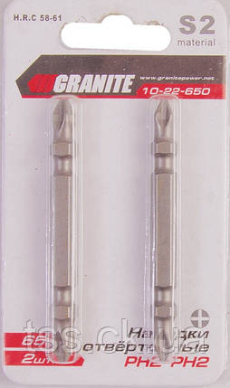 Насадки викруткове РН2-РН2*65 мм, S2, 2 шт GRANITE 10-22-650, фото 2