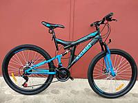 Горный двухподвесный велосипед Azimut Power 24 D дюйма черно-синий