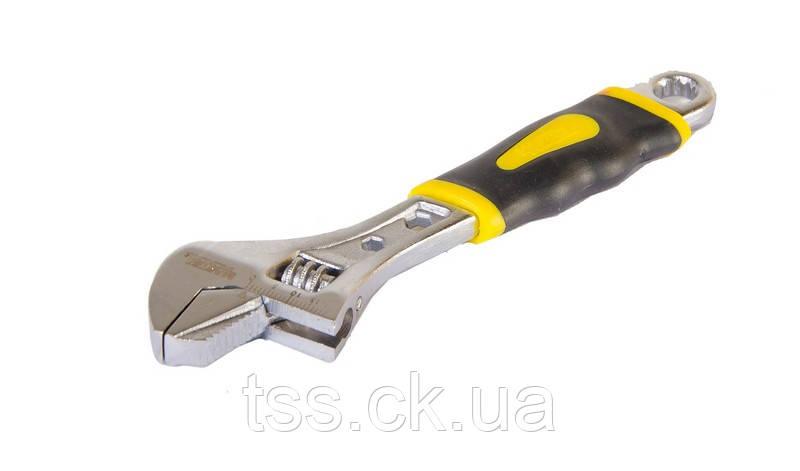 Ключ розвідний 150 мм, 0 - 24 мм з двокомпонентною ручкою, переставна губка MASTERTOOL 76-0421