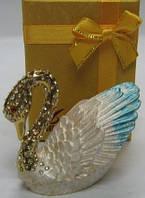 Прикольный сувенир, шкатулка сувенир со стразами лебедь 2 вида