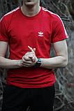 Мужская красная повседневная футболка Adidas, фото 2