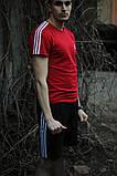Мужская красная повседневная футболка Adidas, фото 4