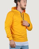 Мужская кофта худи с капюшоном, толстовка желтая