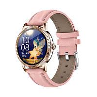 Розумні смарт годинник Lemfo CF18 Pro Leather з вимірюванням тиску і пульсу (Рожевий), фото 1