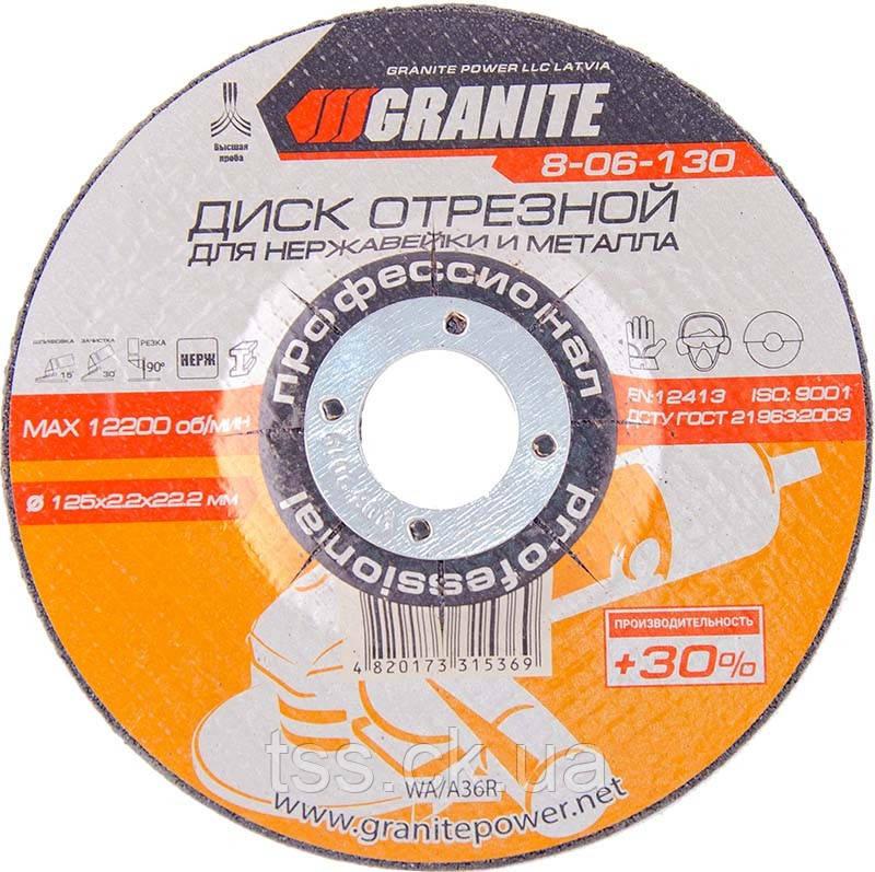 Диск абразивний універсальний для нержавіючої сталі та металу 125*2,2*22,2 мм PROFI +30 GRANITE 8-06-130