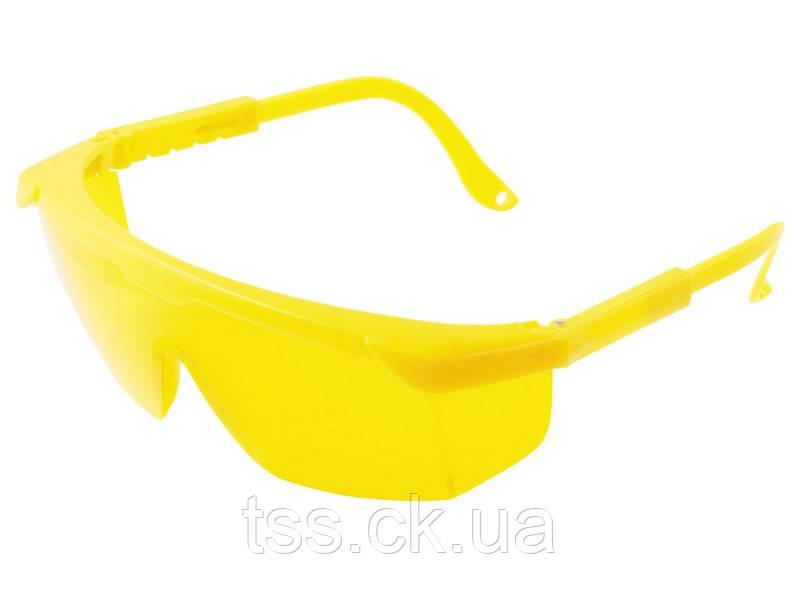Окуляри захисні відкриті КОМФОРТ жовті з регульованими дужками MASTERTOOL 82-0603