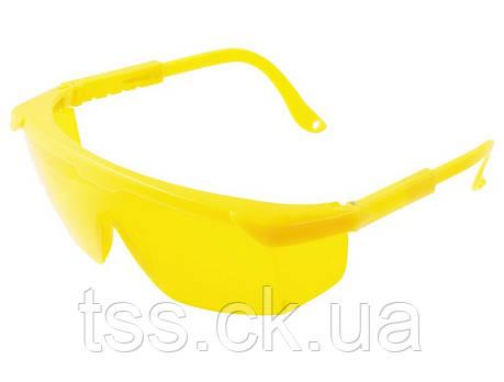 Окуляри захисні відкриті КОМФОРТ жовті з регульованими дужками MASTERTOOL 82-0603, фото 2