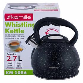 Чайник 2,7 л из нержавеющей стали со свистком Kamille KM-1086