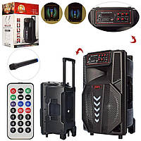 Портативна велика колонка (12дюйм, 4000mA, світло, Bluetooth,TF, USB, MP3, FM) Super bass LT-1203 з мікрофоном