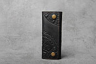 "Ключница кожаная черная, орнамент ""этно"", 6 карабина, фото 1"