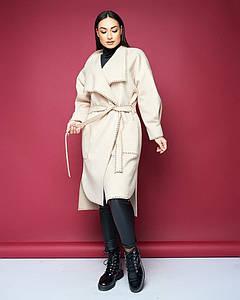 """Кашемировое женское пальто на запах """"Olita"""" с поясом и карманами"""