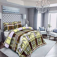 """Пакистанская постельная ткань бязь GOLD, разноцветная с принтом """"Клетка с белыми розами"""""""