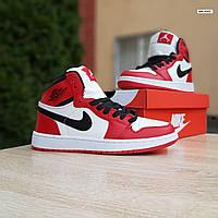 Мужские демисезонные кроссовки Nike Air Jordan 1 Retro (бело-красные) повседневная обувь 10335