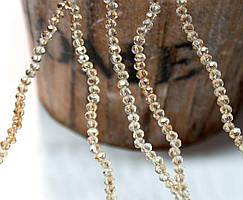 Бусины хрустальные 2х2мм кол-во: 180-190 шт, лунный камень с коричневым бочком