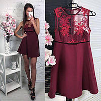 Бордовое женское платье, фото 1