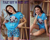Женская трикотажная пижама с шортами и принтом Мопс Голубой / хб пижама
