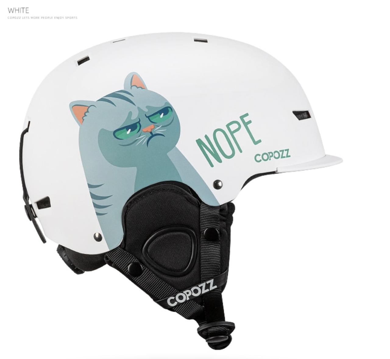 Горнолыжный / сноубордический шлем COPOZZ с рисунком (WHITE CAT) (М)