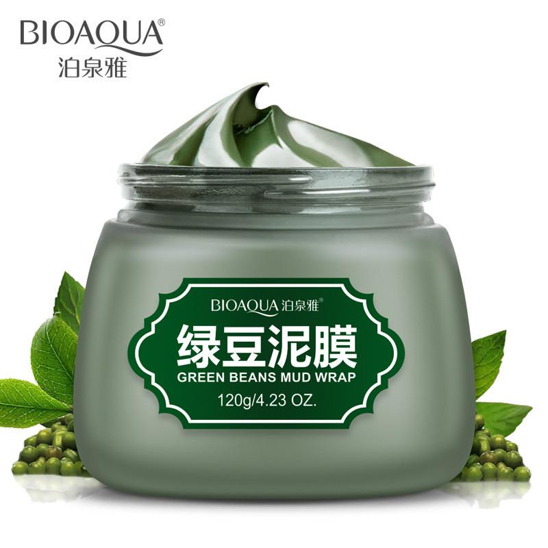 Грязевая маска для лица c зелеными бобами Мунг Bioaqua Green Beans Mud Wrap, 120г