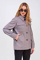 Женское короткое пальто-рубашка свободного силуэта из шерстяной ткани Алин